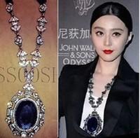 Free shipping For nec  klace vintage big gem necklace carved ribbon necklace female long necklace long X8202