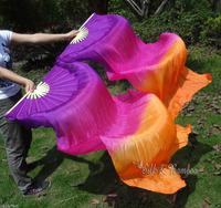 Real Silk fan veil For Belly Dance China Silk Veil Fan Purple + Rose + Orange