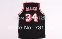# 34 Ray Allen Miami Nicknam J.SHUTTLESWORTH black and white Basketball Jersey Fabrics   Free  Shipping