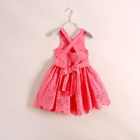 2014 Baby girls tulle lace cotton sleeveless princess dresses kids girl hallow out flower stylish party dress