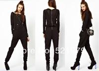 New 2014 Summer Fashion Plus Size XS-XXL Jumpsuit Black Full lengtn Elastic Waist Jumpsuits & Rompers Bandage Jumpsuit