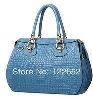 The new 2014 female bag luxury crocodile print head layer cowhide bag high quality brand shoulder bag free shipping B-89