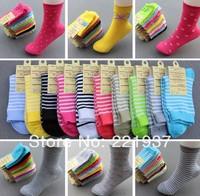 2014 Wholesale High Quality 20pcs=10pair Cotton Women Sports Socks Female Casual Socks Women Mixing Colors