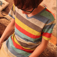 Male short-sleeve T-shirt male white 100% cotton V-neck 2014 summer tight short-sleeve top basic shirt