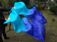 Real Silk Fan Veil For Belly Dance Thicker Silk Veil Fan Light Blue & Dark Blue