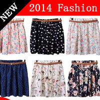 2015 new fashion spring summer women floral print mini skirt short womens chiffon casual cute active pleated skirts 0308A
