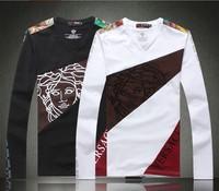 Fashion high quality cotton printing men long sleeve T-shirt V -neck men's long sleeve shirt free shipping