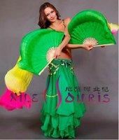 Real Silk Fan Veil For Belly Dance China Silk Veil Fan Green & Yellow & Rose