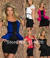 Hot sale Women Sexy Peplum Work Dress Womens Clubwear Party Bodycon Cap-sleeves Career Work Dresses With Belt