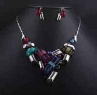 New fashion jewelry sets luxury choker statement necklace earrings evening dress necklace women costume jewelry, Free Shipping
