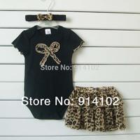 2014 New Baby girls 3 Piece Suits: Short Black Romper +Lace Tutu Skirt + Headband Girls Fashion summer sets Leopard clothing