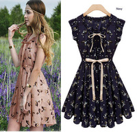 2014 Newest European Start Design Slim Fashion Women Sleeveless Animal Printed Vintage color Chiffon Casual Novelty Dress 851