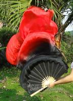 Real Silk Fan Veil For Belly Dance China Silk Veil Fan Black & Red