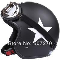 "E.145 3/4 Taiwan "" EVO "" NEW Scooter Casco Open Face Racing Motorcycle Matte Black # White Star Helmet & UV Goggles & Visor"
