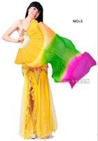 Real Silk Fan Veil For Belly Dance Thicker Silk Veil Fan Orange & Green & Rose