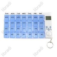 1pcs 1 Week 4 time alarm Portable Timer Pill Case Medicine Reminder Drug Box Clock Backlight PB005