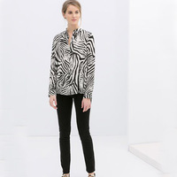 2014 spring new European style fashion zebra print long-sleeved collar shirt WCS12168