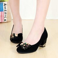 2014 women's shoes low-top shoes pointed toe single shoes female casual leather thick heel high-heeled shoes