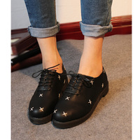 Soft leather low-heeled martin shoes women's shoes lacing low single shoes female round toe flat heel fashion small leather