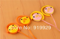 Free Shipping (5 Pieces/Lot) Cartoon Little Duck 3.5mm Ear-Hook Stereo Earphone Headset Headphone For Iphone HTC Samsung LG