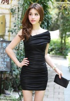 Autumn women's pleated double-shoulder short-sleeve elegant tube top sexy slim hip slim one-piece dress