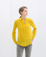 Newest 2014 Spring Women Solid Turn-down Collar  Long Sleeve Chiffon Blouse,Ladies Casual Yellow Shirts c323