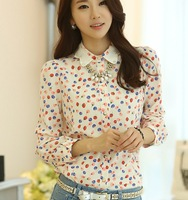 Spring New 2014 Korean Female Hit Color Long Sleeve Fruit Dot Print Chiffon Blouse Shirt Women Blouses Plus Size XXL Cardigan