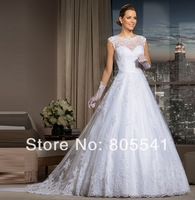 2014 Fashion Brand Cap Sleeve Little Ball Gown Floor Length Appliques Scoop Basque Zipper Lace Vintage Weddings Dress