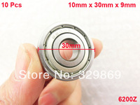 10 Pcs 6200Z 10mm x 30mm x 9mm Single Row Sealed Deep Groove Ball Bearings