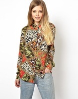 Newest 2014 Spring Summer Women Vintage Leopard Splice Prints Long Sleeve Chiffon Blouse,Ladies Casual Shirts c322