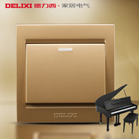 Delixi switch socket switch panel wall switch high quality gold neon