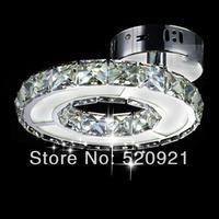 LED ceiling lamp 9W AC220V crystal+stainless steel+acryl lamp elegant modern living room bedroom study romantic single head