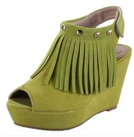 Elegant 2014 women's wedges sandals open toe rivet platform sandals fashion sweet cute tassel wedges sandals for women