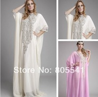 New Fashion High Neck Long Sleeves Formal Evening Gowns vestido longo Floor Length Chiffon Prom Gowns 2014