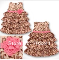 2014 Fashion summer baby girl's leopard print dress cute fashion Children's dresses 5pcs/lot Children's clothing