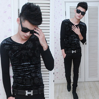 Mens New 2014 spring long-sleeve color block decoration male t-shirt V-neck 0151 p40 basic shirt  hot sale free shipping