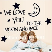 Free shipping! New arrival Children's room wall decoration stickers wallpaper cartoon stars and moon English