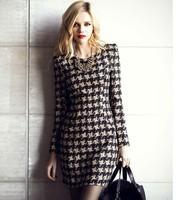 Fashion 2014 Spring Long-sleeve Woolen Dress  Casual Winter Plaid Dress  S/M/L/XL/XXL
