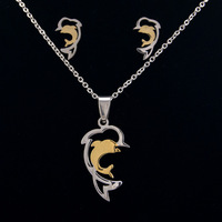new fashion lovely dolphin pendant jewelry sets Necklace hot animal 316L stainless steel for women party gift freeshipping
