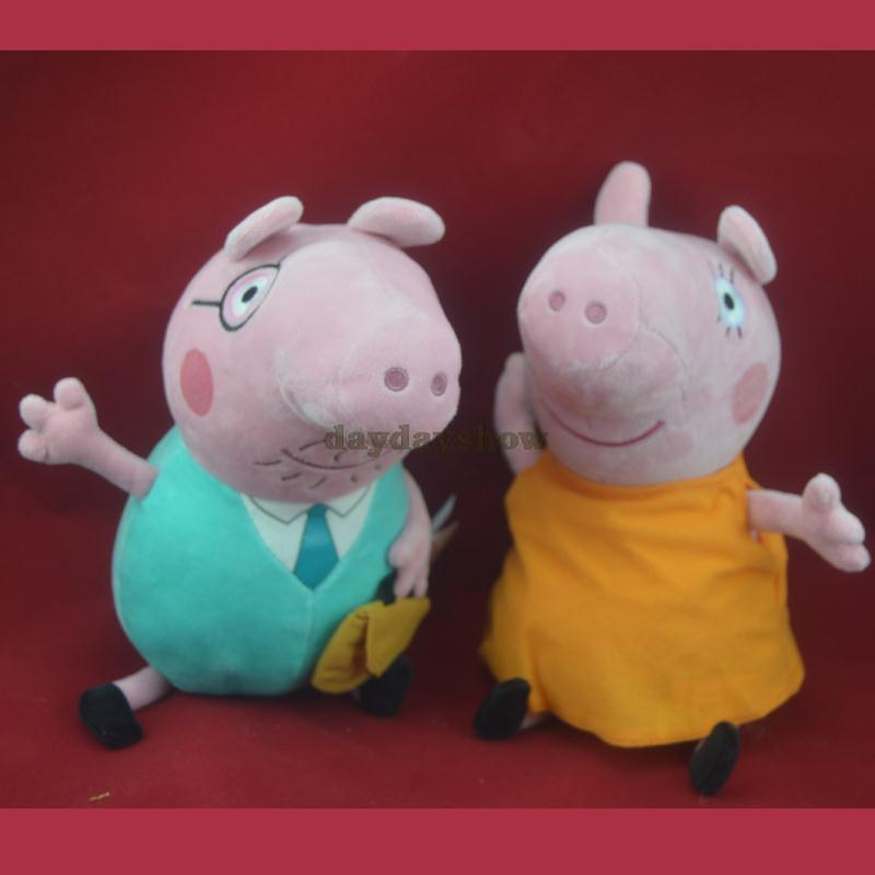 2pcs/lot wholesale pepa pig family figures plush Doll Daddy Mummy toys Stuffed pink Toy Set 30cm free drop shipping(China (Mainland))