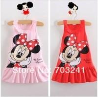 new 2014 summer girl dress wholesale children clothing minnie mouse leisure kids dresses 5pcs/lot
