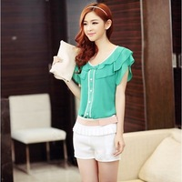 2014 Summer New Fashion Elegant Shirts Women's Casual Slim Short Butterfly Sleeve Chiffon Blouse For Women Female Green Shirt