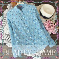 4 Colors 2014 New Fashion Womens Chiffon Polka Dots Button Turn Down Collar Lapel Shirt Blouse Tops