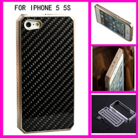 Aluminum Bumber Case With Metal Frame & Fiber Carbon Back For Iphone 5s 5 5G Anti-Scratch screen Protecto with Retail packaging