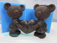 Love Limited Freeshipping Rubber Moulds Sgs Lfgb Fda Ce / Eu Eco-friendly Bear 3d Chocolate Mold Animal Cartoon 2014 New 2pcs
