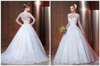2014 new long-sleeved white/ivory wedding dress custom size