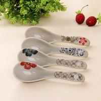 Jingdezhen ceramic tableware, retro style, blue and white porcelain spoon, flateware, flower pattern, wholesale~