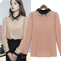 Circleof 2014 spring women's female long-sleeve shirt slim chiffon shirt female basic shirt