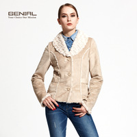 Genial fashion chamois compound wool design turn-down collar short outerwear brief fashion faux