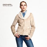 Genial fashion chamois compound wool design turn-down collar short outerwear brief fashion faux